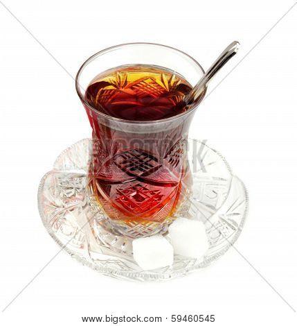 Turkish tea with traditional crystal glass