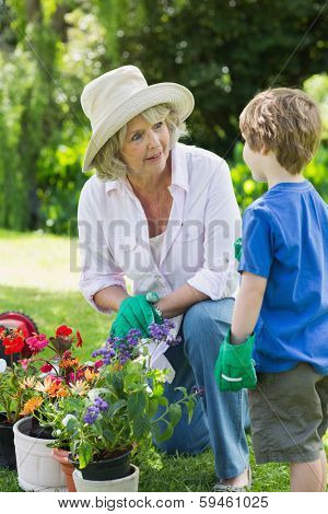 View of a grandmother and grandson engaged in gardening