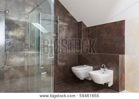 Brown Tiles In Modern Bathroom
