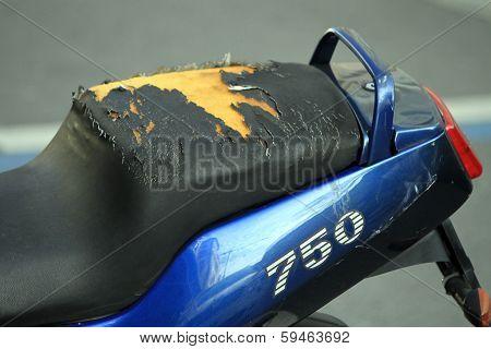 Damaged motorbike seat