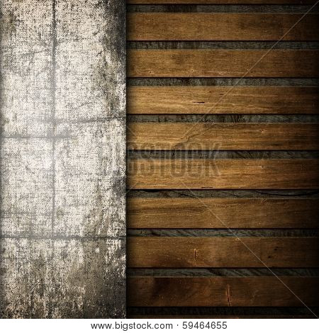 old canvas on wooden background