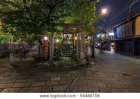 Shinbashi-dori Street In Gion District In Kyoto, Japan.