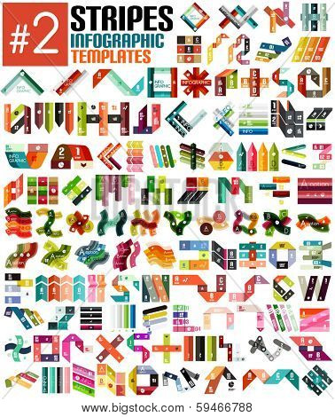 Huge set of stripe infographic templates #2 for business background | numbered banners | business lines | graphic website