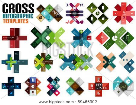 Huge set of cross infographic templates #2 for business background | numbered banners | business lines | graphic website