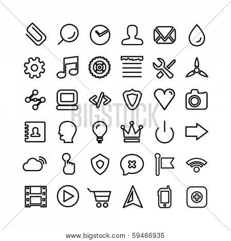 Web line icon set. Ultra thin icons isolated on white