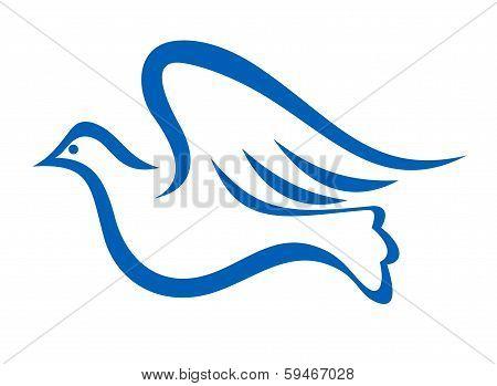 Blue illustration of a dove flying