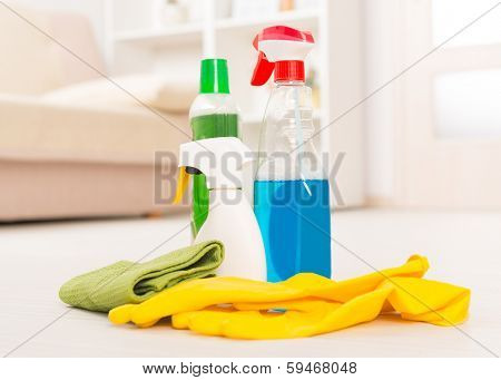 Group of cleaning accesories
