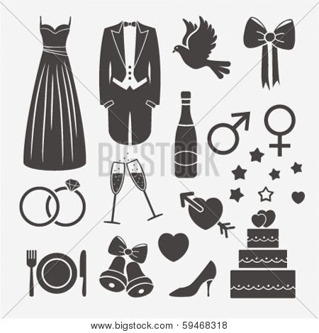 set with wedding design elements