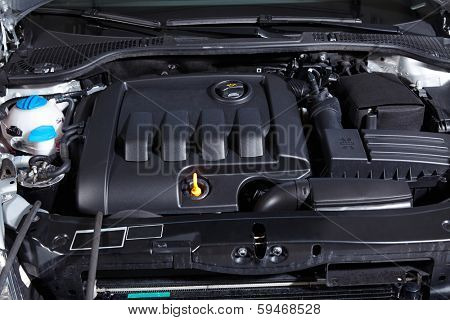 Detail of car engine, check oil