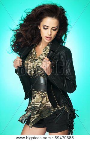 Fashionable Brunette Lady Posing