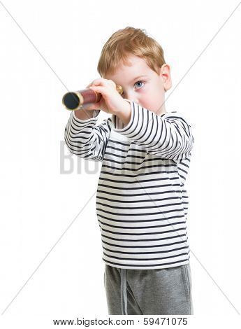 Kid boy looking ahead with telescope isolated
