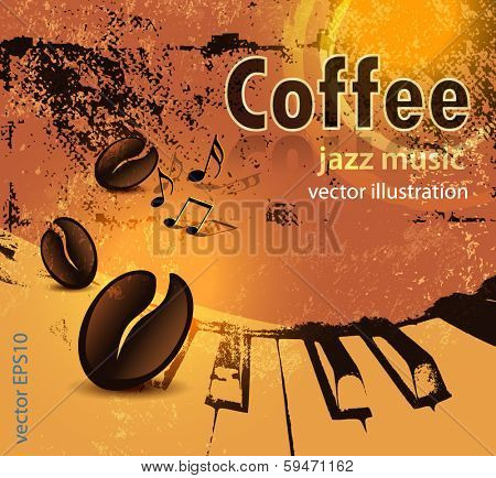 Grunge coffee and music background