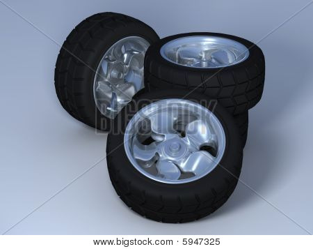 Four wheels with tyres