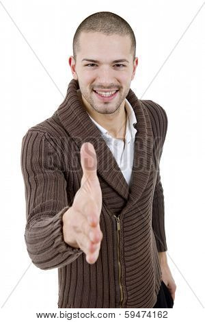young casual man offering to shake the hand