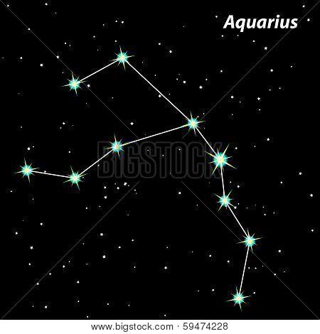 Aquarius Zodiac Sign Bright Stars In Cosmos.vector.