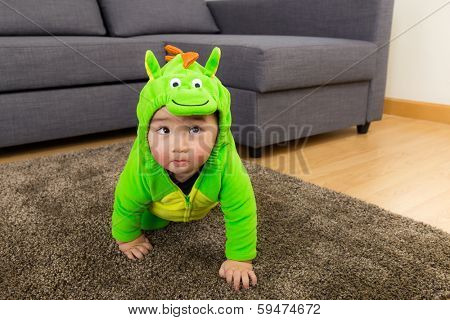 Young baby boy dressed in dinosaur