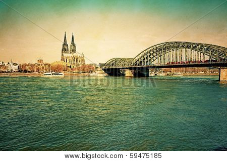 view of Retro Gothic Cathedral in Cologne, Germany
