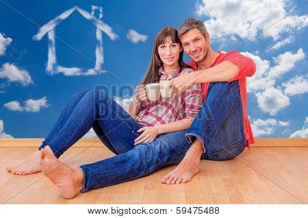 happy new home real estate couple