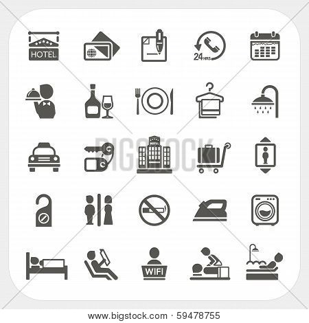 Hotel And Hotel Services Icons Set