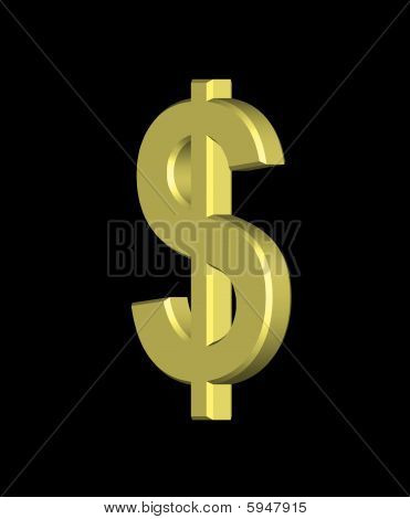 Golden Dollar On A Black Background