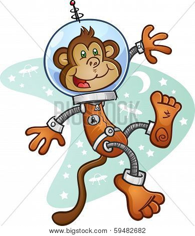 Monkey Astronaut Cartoon Character in a Space Suit