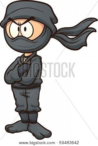 Cartoon ninja. Vector clip art illustration with simple gradients. All in a single layer.