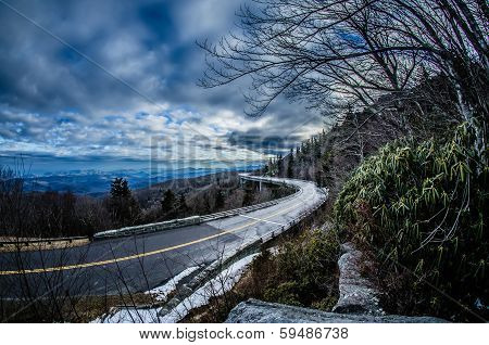 linn cove viaduct during winter near blowing rock nc
