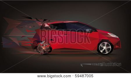 Design car. Low-poly triangular vector illustration
