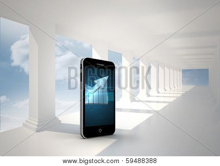 Arrow on smartphone screen against bright white hall with columns