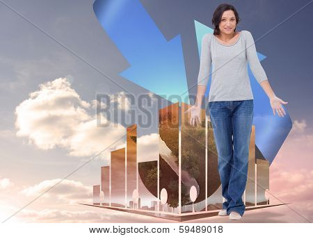 Clueless young woman against blue arrows pointing against sky