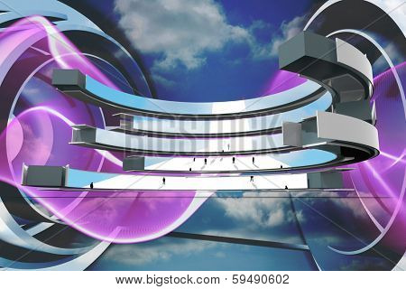 Tiny business people on abstract screen against purple wave design on blue sky