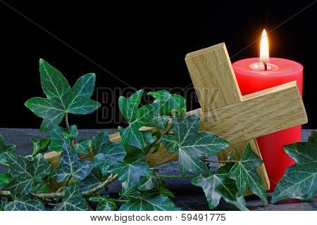 Fallen Cross And Candle