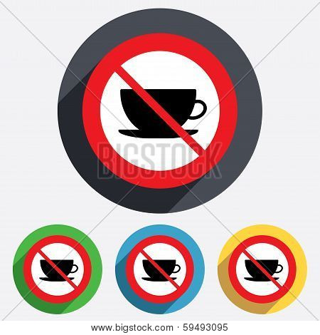 No Coffee cup sign icon. Coffee button.