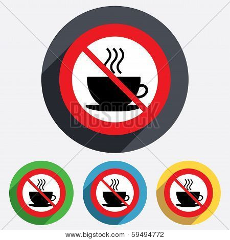 No Coffee cup sign icon. Hot coffee button.