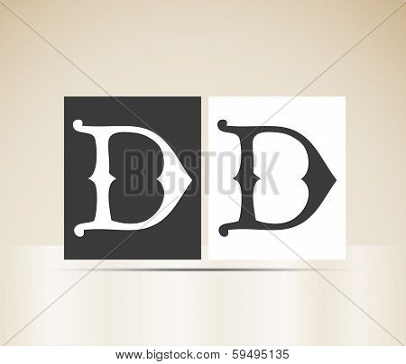 Vector letter D sign alphabet