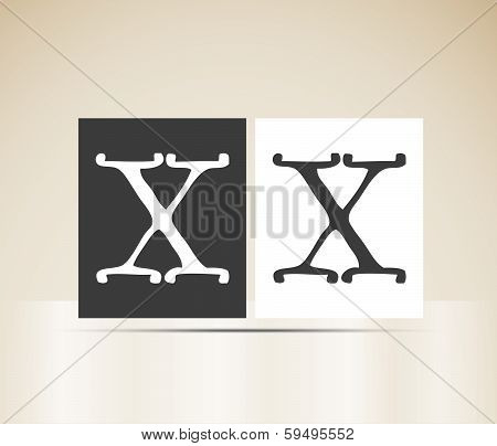 Vector letter X sign alphabet