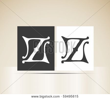Vector letter Z sign alphabet