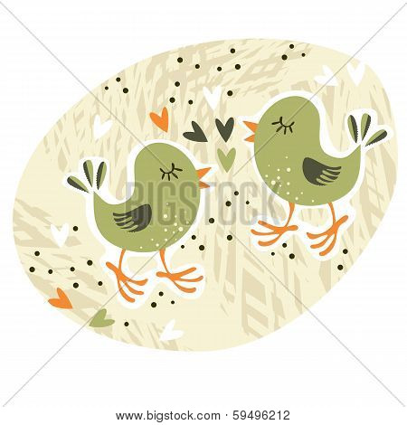 love card illustration with little birds and hearts centerpiece