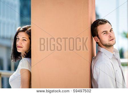 Divided - couple outdoor portrait