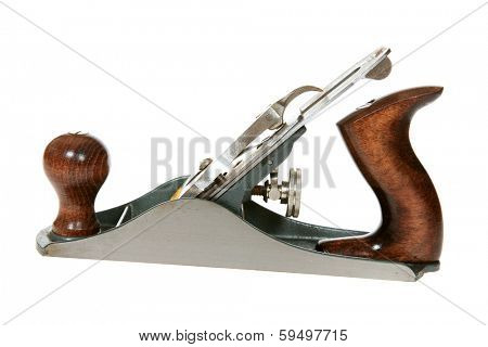A Genuine Carpenters Wood Plane. Wood Planes are used to shave thin amounts of wood down on projects that carpenters are working on. Isolated on white with room for your text