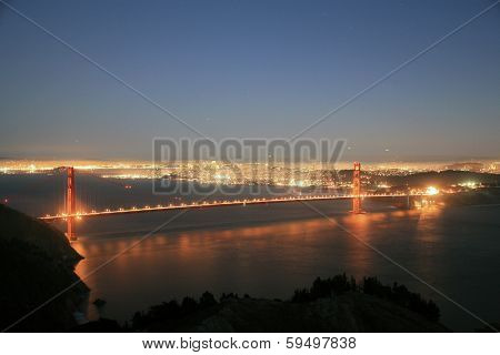 Unique Views of the World Famous Golden Gate Bridge and San Francisco California at dusk and the dead of night. People travel from around the world to visit this world famous land mark and city.