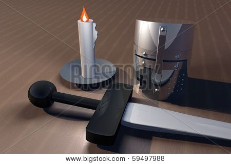 Helm, Sword And Candle