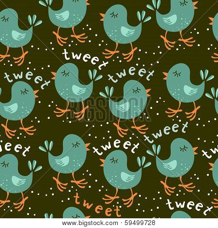 turquoise little birds tweeting on dark