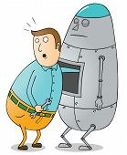 image of tin man  - Illustration of a man doing a Robot Maintenance - JPG
