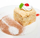 foto of cream puff  - Cake napoleon puff with custard cream sweet dessert on plate - JPG