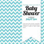 pic of chevron  - Blue and white chevron baby shower invitation for a baby boy - JPG