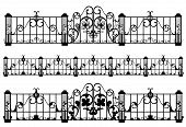 pic of wrought iron  - wrought iron fence and gate detailed black and white outlines - JPG