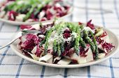 Healthy salad with chicory radicchio and asparagus