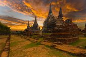 Picture of wat phra si sanphet temple sunset ayutthaya.