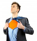 foto of tears  - Young business man tearing apart his shirt revealing  superhero suit - JPG